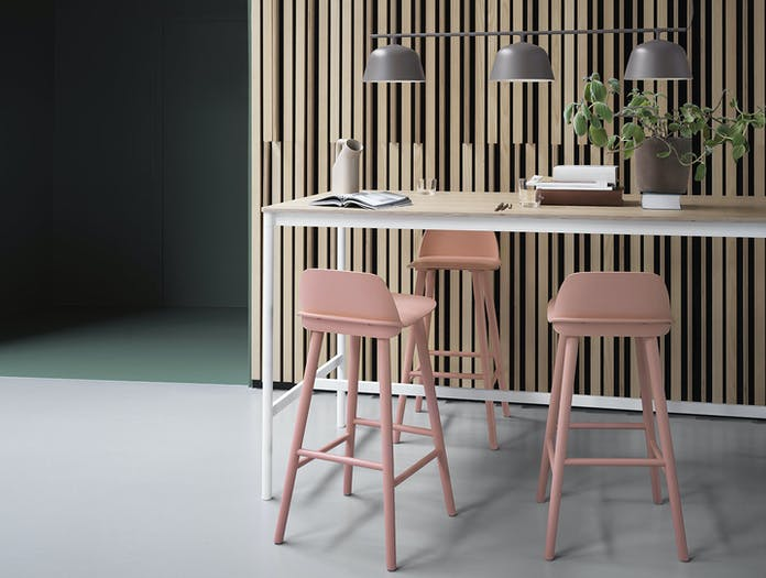 Muuto nerd bar stool tan rose base high table oak white ambit rail lamp taupe tub jug