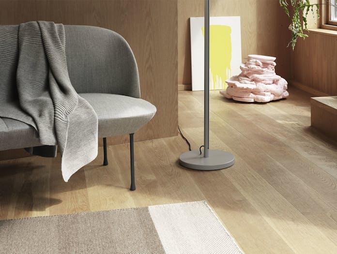 Muuto pull floor lamp grey oslo sofa fiord 151 varjo rug