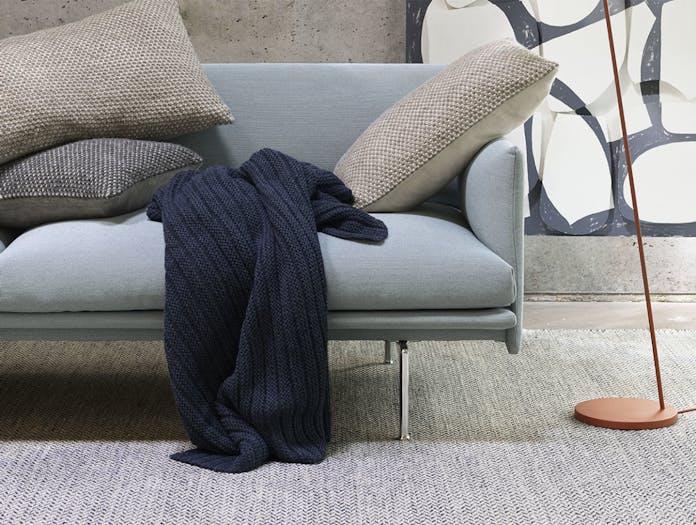 Muuto twine cushion beige grey dark grey ample throw midnight blue outline steelcut trio 713 leaf lamp
