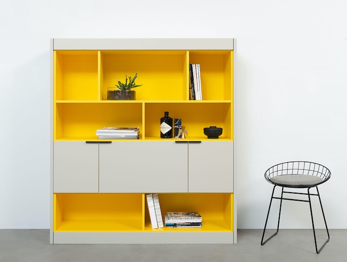 Pastoe L Maze shelves with cabinets