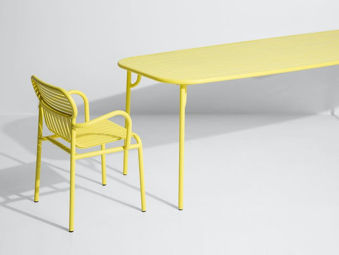 Petite Friture Week End Outdoor Armchair Table yellow Studio Brichet Ziegler