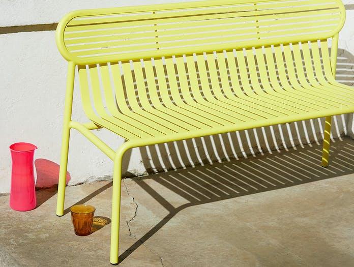 Petite Friture Week End Outdoor Bench Yellow detail Studio Brichet Ziegler