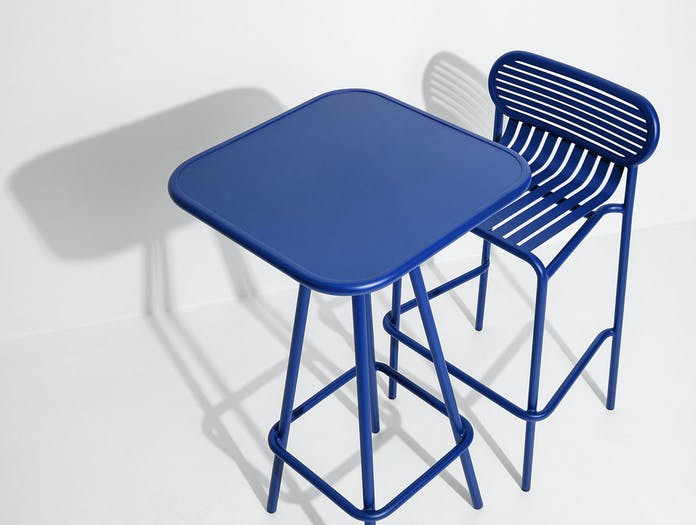 Petite Friture Week End Outdoor Stool High Table blue Studio Brichet Ziegler
