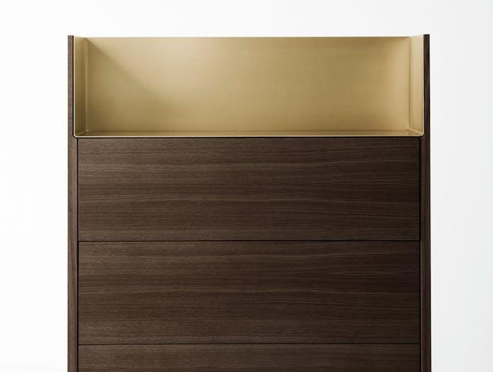 Punt Stockholm Dresser walnut gold detail Mario Ruiz