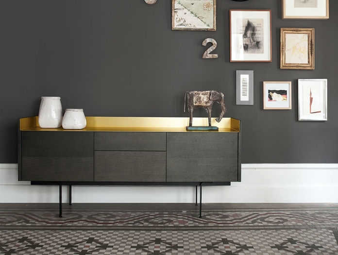 Punt Stockholm Sideboard STH312 grey oak gold top Mario Ruiz