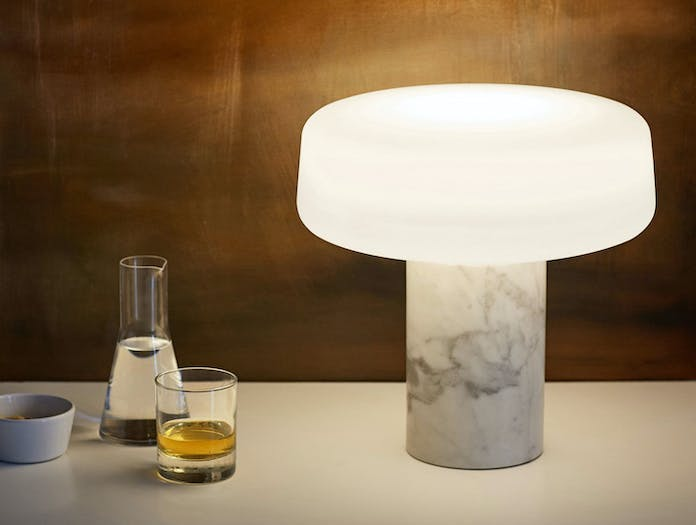 Terence Woodgate Solid Table Light large White Carrara Marble 2
