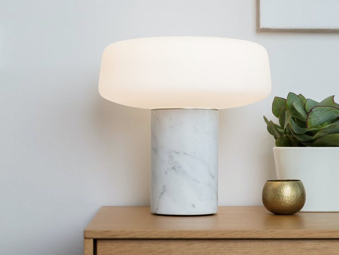 Terence Woodgate Solid Table Light large White Carrara Marble 3