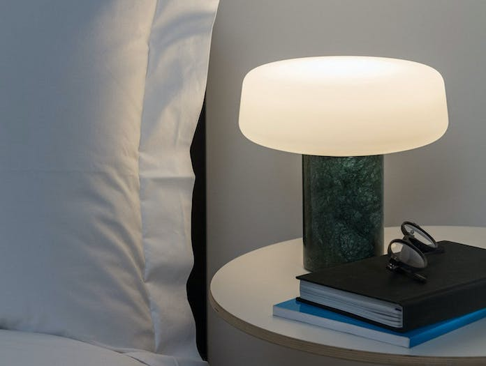 Terence Woodgate Solid Table Light small Serpentine Green Marble bedside