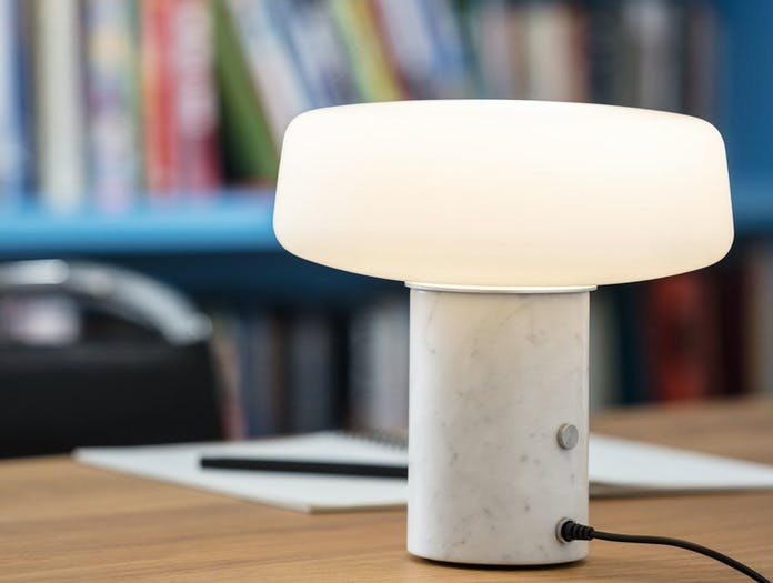 Terence Woodgate Solid Table Light small White Carrara Marble on