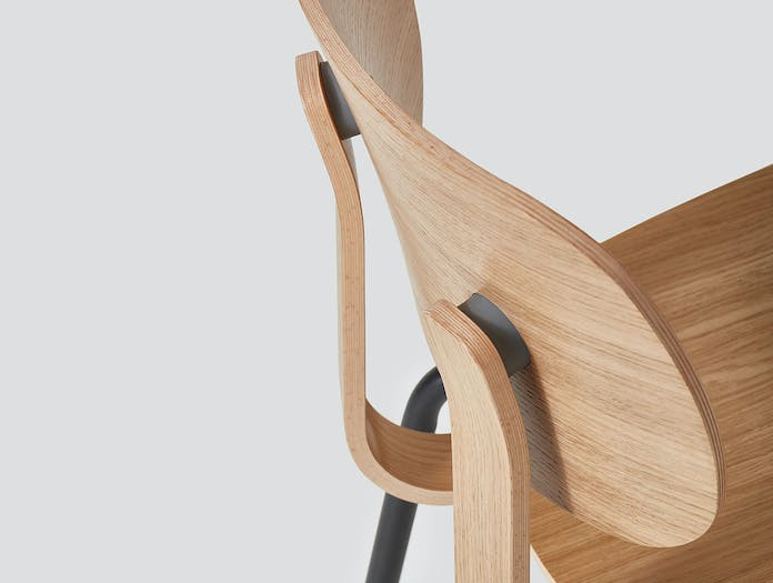 Very Good and Proper HD Stacking Chair oak graphite detail John Tree