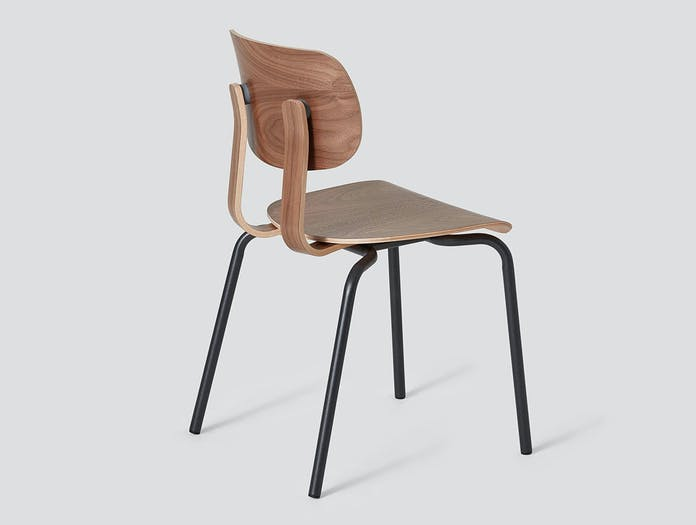 Very Good and Proper HD Stacking Chair walnut graphite John Tree
