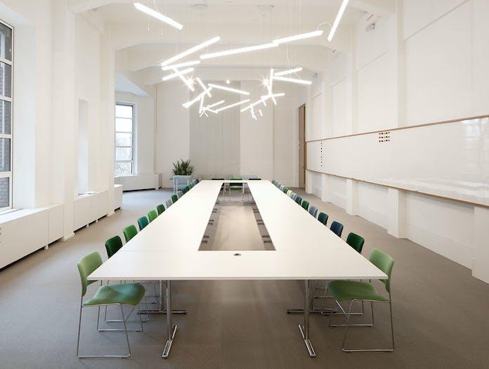 Vibia Halo Lineal Pendant Lights meeting room Martin Azua