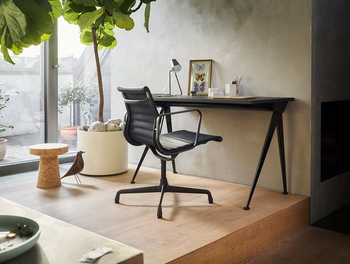 Vitra Aluminium Chair EA108 Black Version Compas Direction Cork Stool Eames House Bird