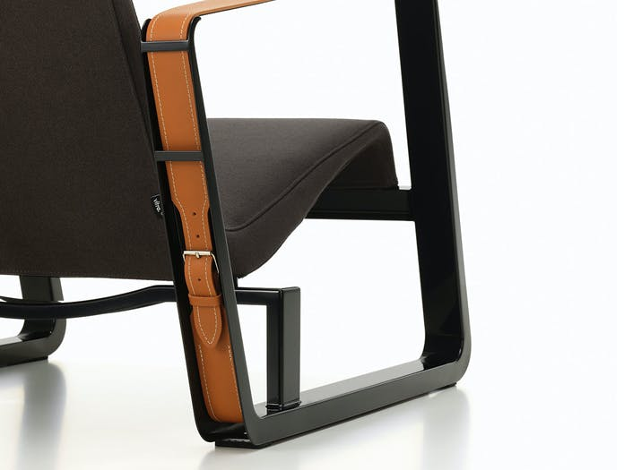 Vitra Cite Lounge Chair detail back Black base Graphite fabric Prouve
