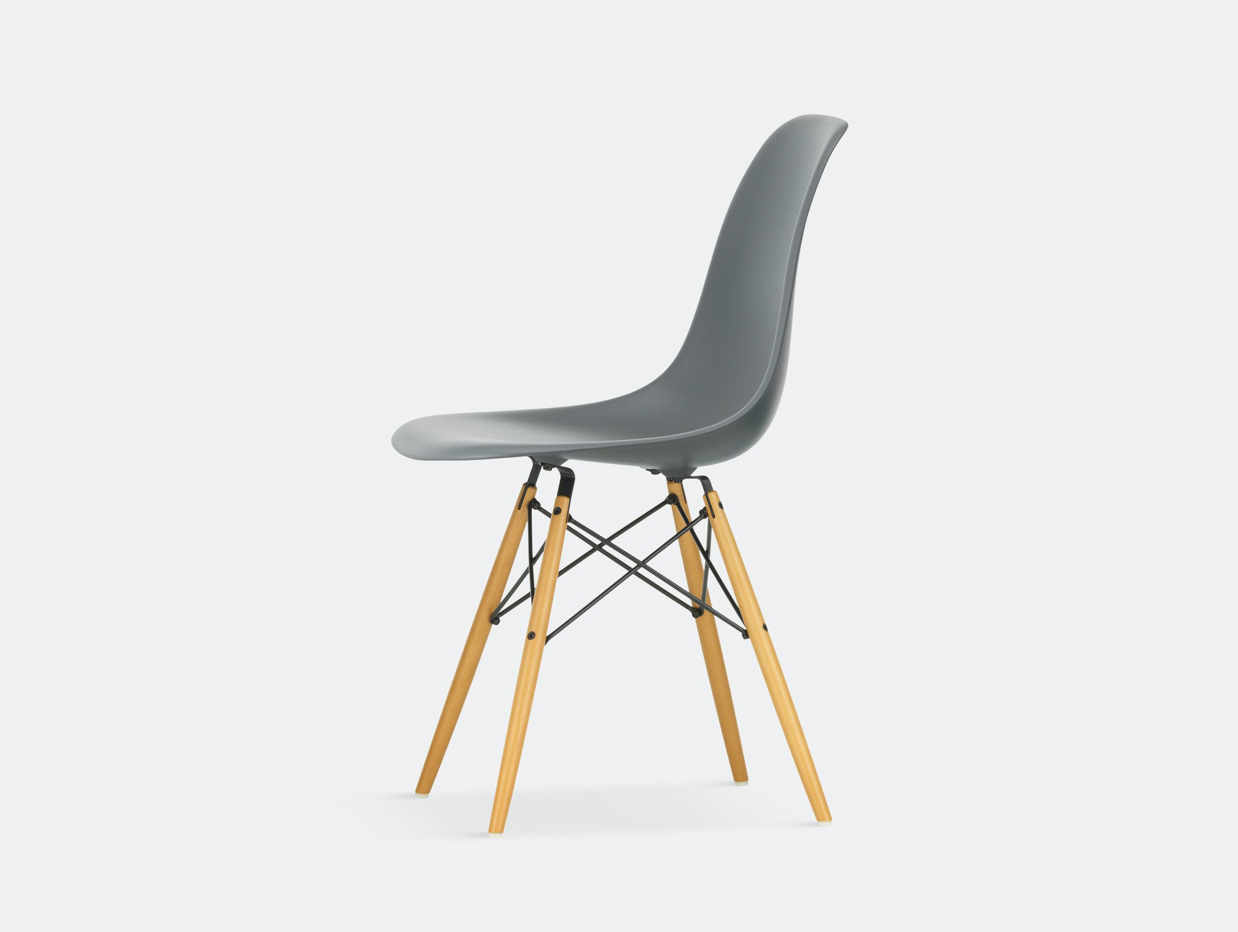 Vitra Eames DSW Plastic Side Chair granite grey golden maple legs