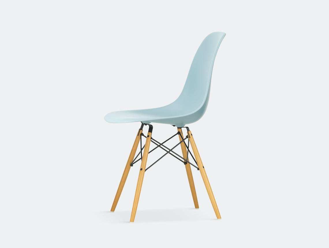 Vitra Eames DSW Plastic Side Chair ice grey golden maple legs
