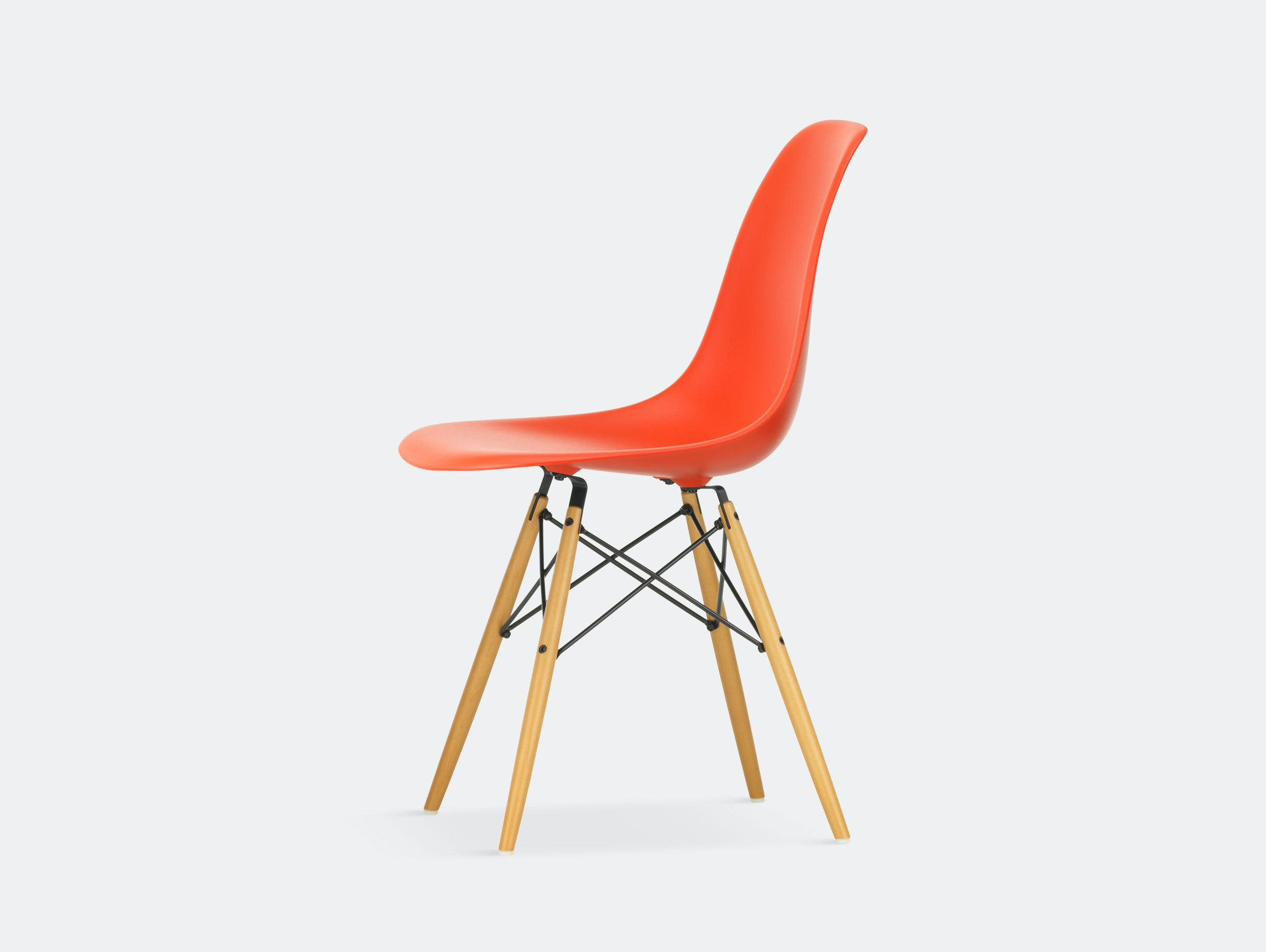 Vitra Eames DSW Plastic Side Chair poppy red golden maple legs