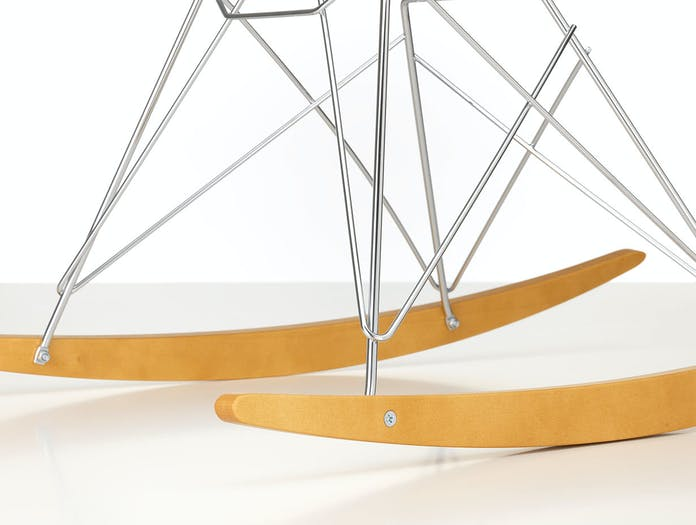 Vitra Eames Plastic Armchair RAR golden maple chrome base detail