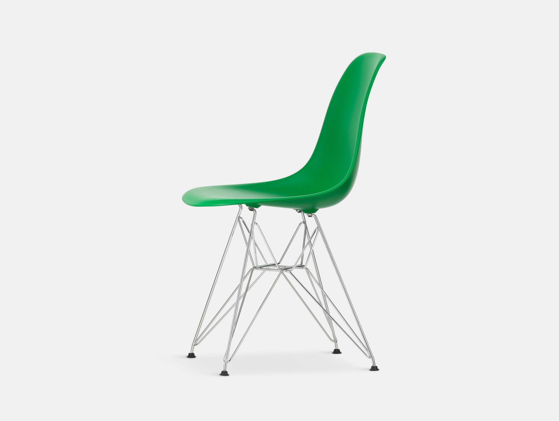 Vitra Eames Plastic Side Chair DSR green chrome legs