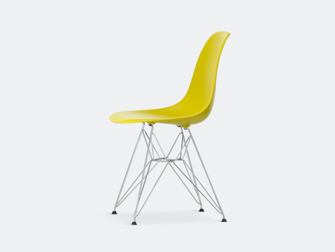Vitra Eames Plastic Side Chair DSR mustard chrome legs