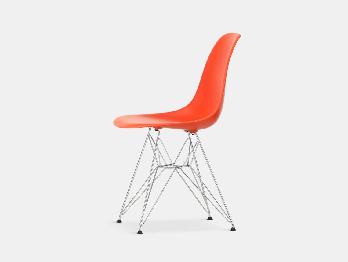 Vitra Eames Plastic Side Chair DSR poppy red chrome legs