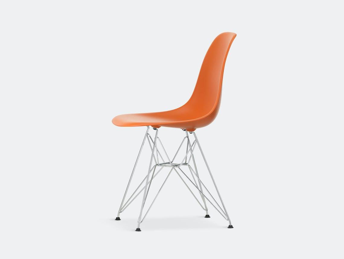 Vitra Eames Plastic Side Chair DSR rusty orange chrome legs
