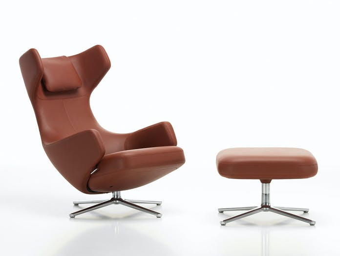 Vitra Grand Repos and Ottoman dark red leather