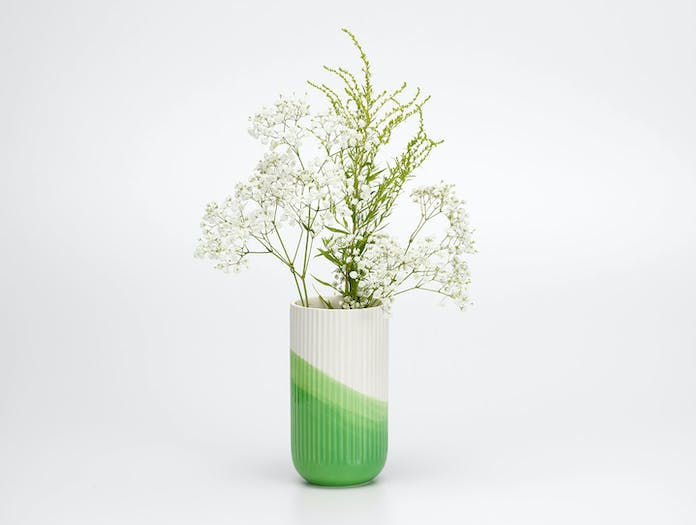 Vitra Herringbone Ribbed Vase Green 2 Raw Edges
