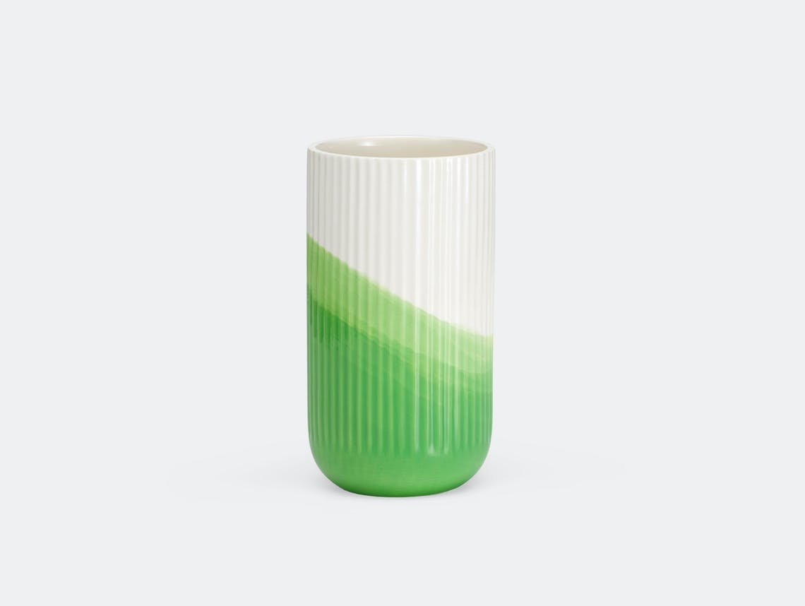 Vitra Herringbone Ribbed Vase Green Raw Edges
