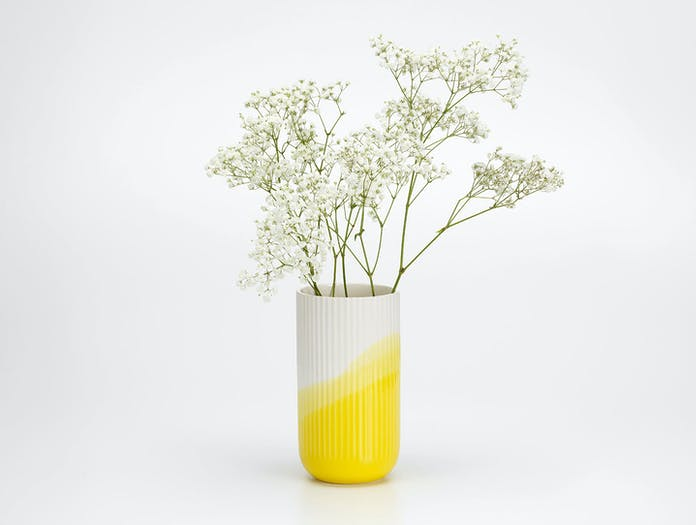 Vitra Herringbone Ribbed Vase Yellow 2 Raw Edges