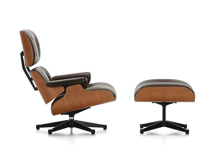 Vitra Lounge Chair Ottoman cherry side
