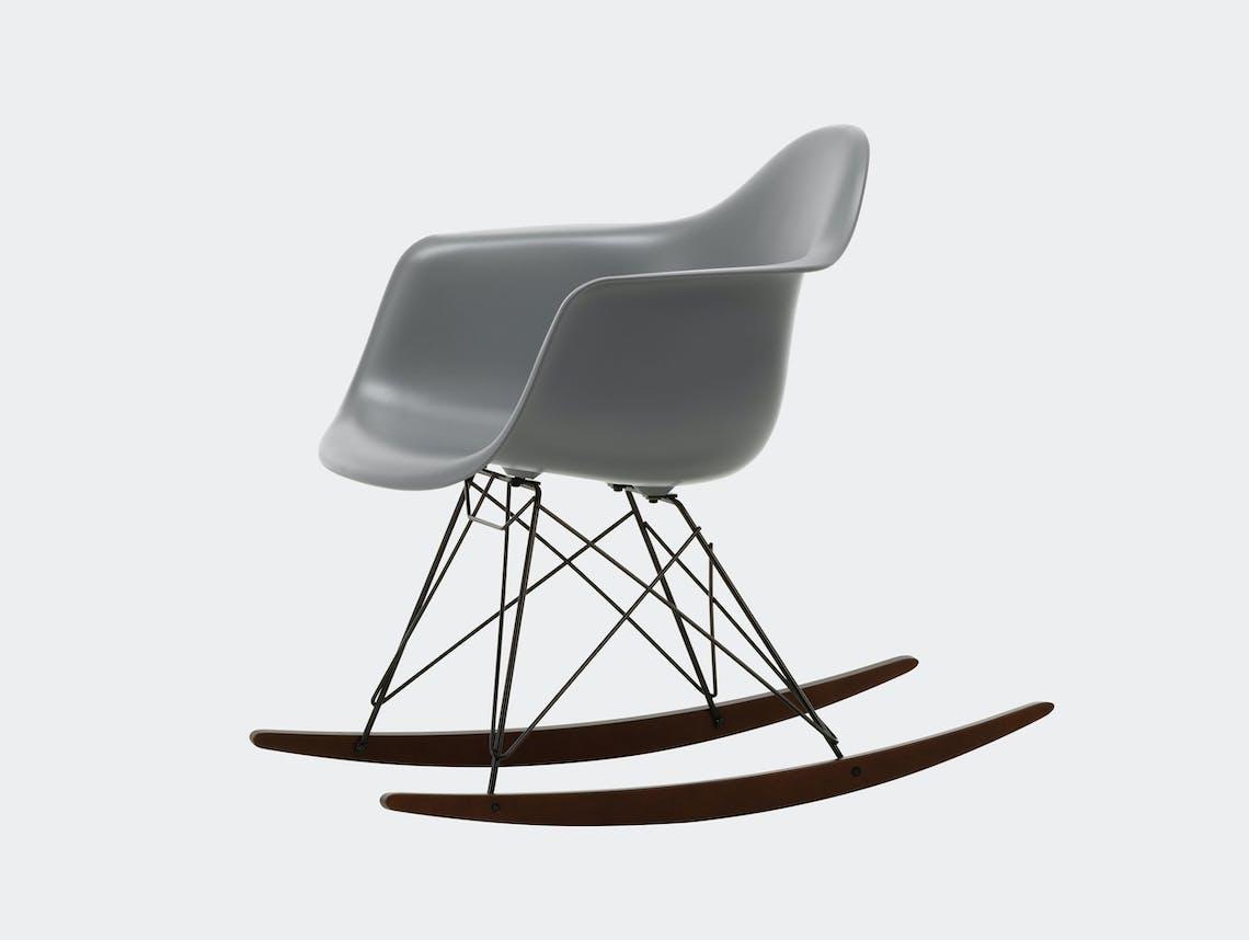 Vitra RAR Rocking Chair Granite Grey seat shell Basic Dark wire Dark Maple runners