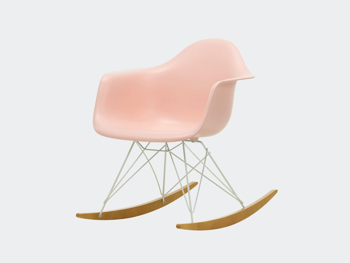 Vitra RAR Rocking Chair Deep Pale Rose seat shell White wire Golden Maple runners