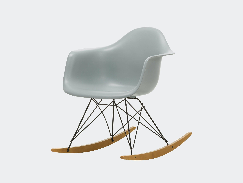 Vitra RAR Rocking Chair Light Grey seat shell Basic Dark wire Golden Maple runners
