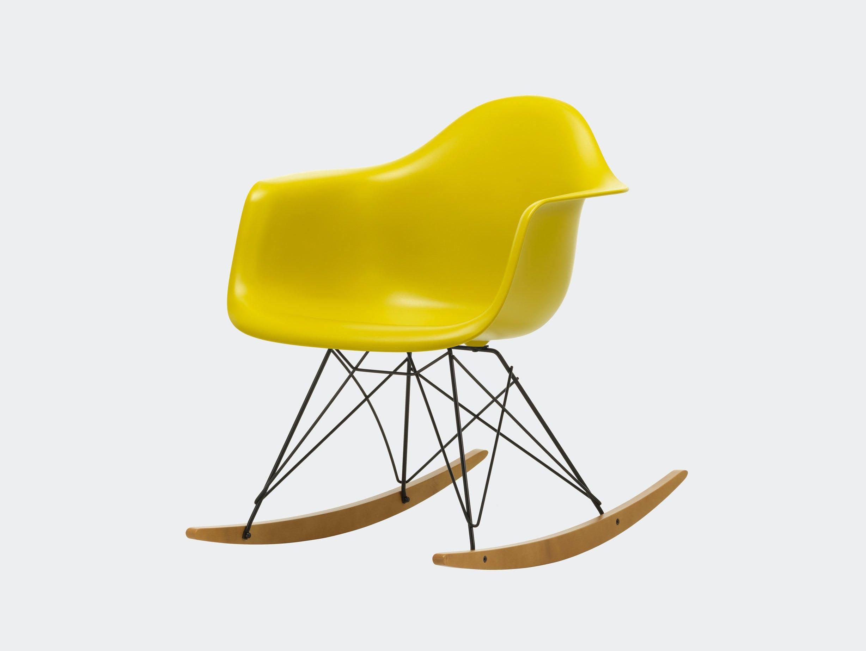 Vitra RAR Rocking Chair Mustard seat shell Basic Dark wire Golden Maple runners