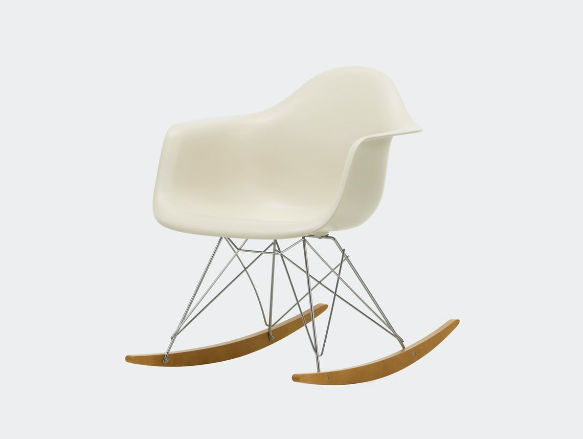 Vitra RAR Rocking Chair Pebble seat shell Chrome wire Golden Maple runners