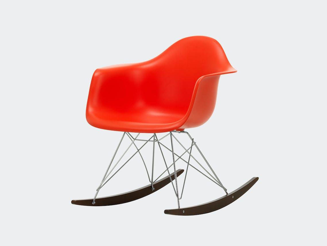 Vitra RAR Rocking Chair Poppy Red seat shell Chrome wire Dark Maple runners