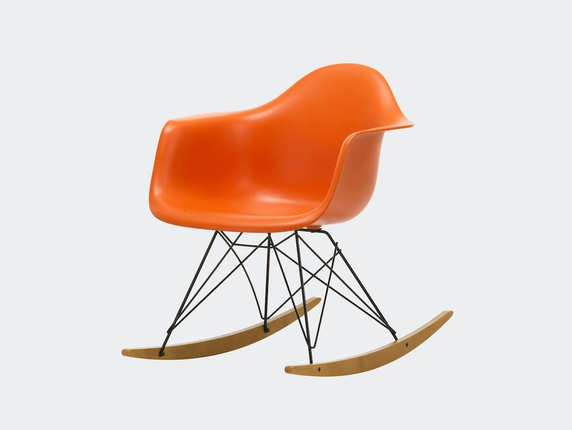 Vitra RAR Rocking Chair Rusty Orange seat shell Basic Dark wire Golden Maple runners