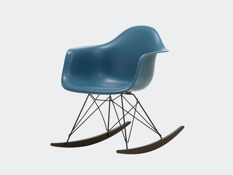 Vitra RAR Rocking Chair Sea Blue seat shell Basic Dark wire Dark Maple runners