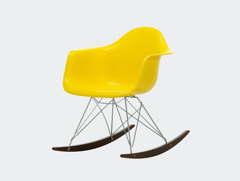 Vitra RAR Rocking Chair Sunlight seat shell Chrome wire Dark Maple runners