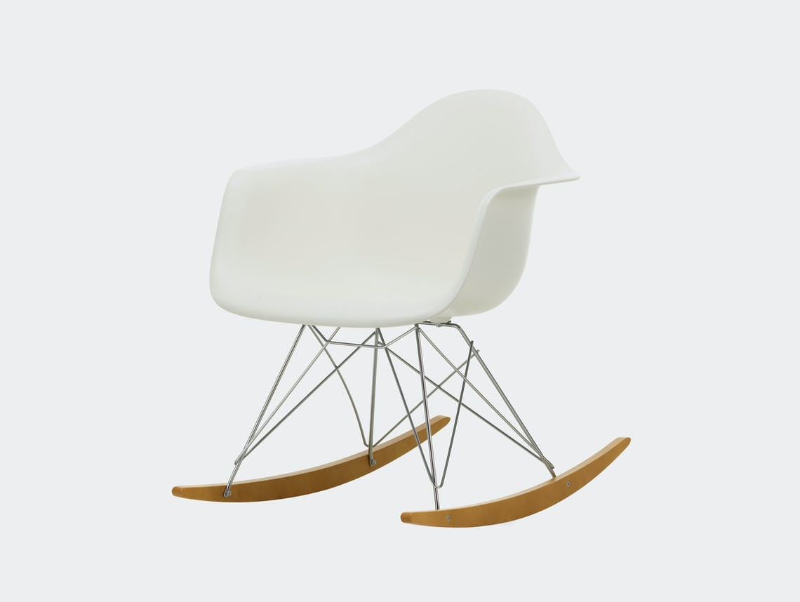Vitra RAR Rocking Chair White seat shell Chrome wire Golden Maple runners