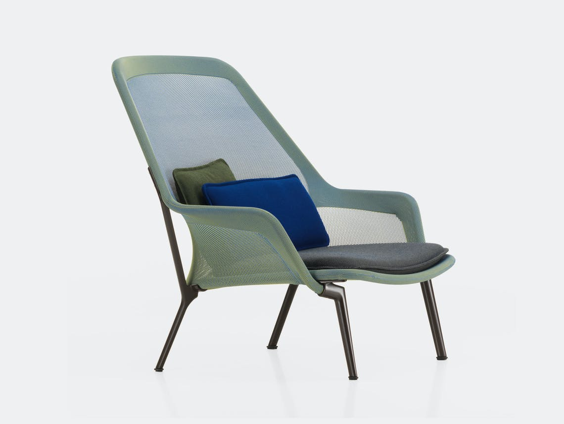 Vitra Slow Lounge Chair blue green chocolate base Bouroullec