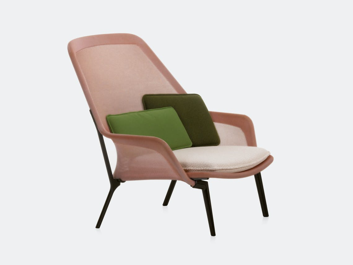 Vitra Slow Lounge Chair red cream chocolate base Bouroullec