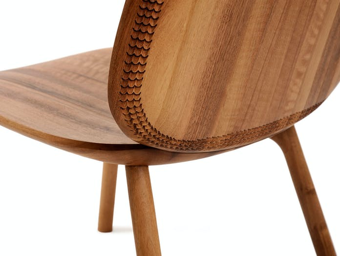 Zanat Unna Lounge Chair Walnut back detail Monica Forster