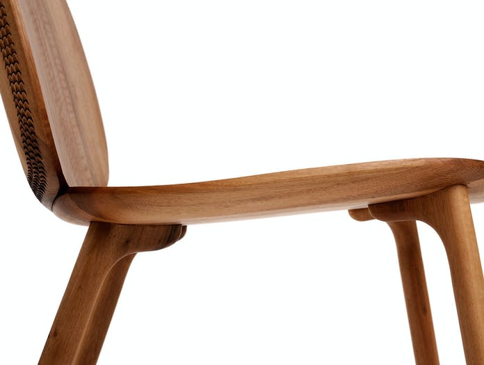 Zanat Unna Lounge Chair Walnut leg detail Monica Forster