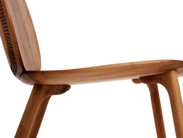 Zanat Unna Lounge Chair Walnut leg detail Monica Forster