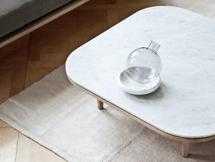 And Tradition Fly Coffee Table Detail Oak Carrara Marble Space Copenhagen