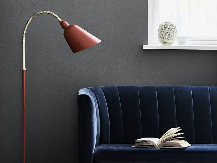 And Tradition Bellevue Floor Lamp Copper Brown detail Arne Jacobsen