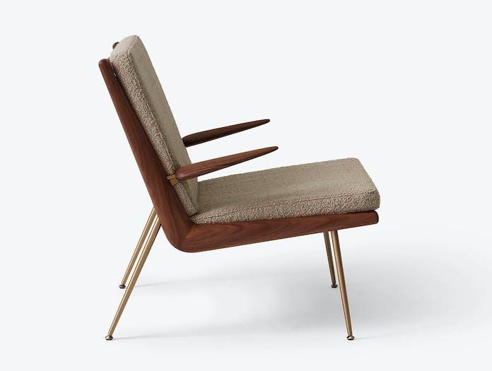 And Tradition Boomerang Lounge Chair side with arms Walnut Karakorum 003 Hvidt Molgaard