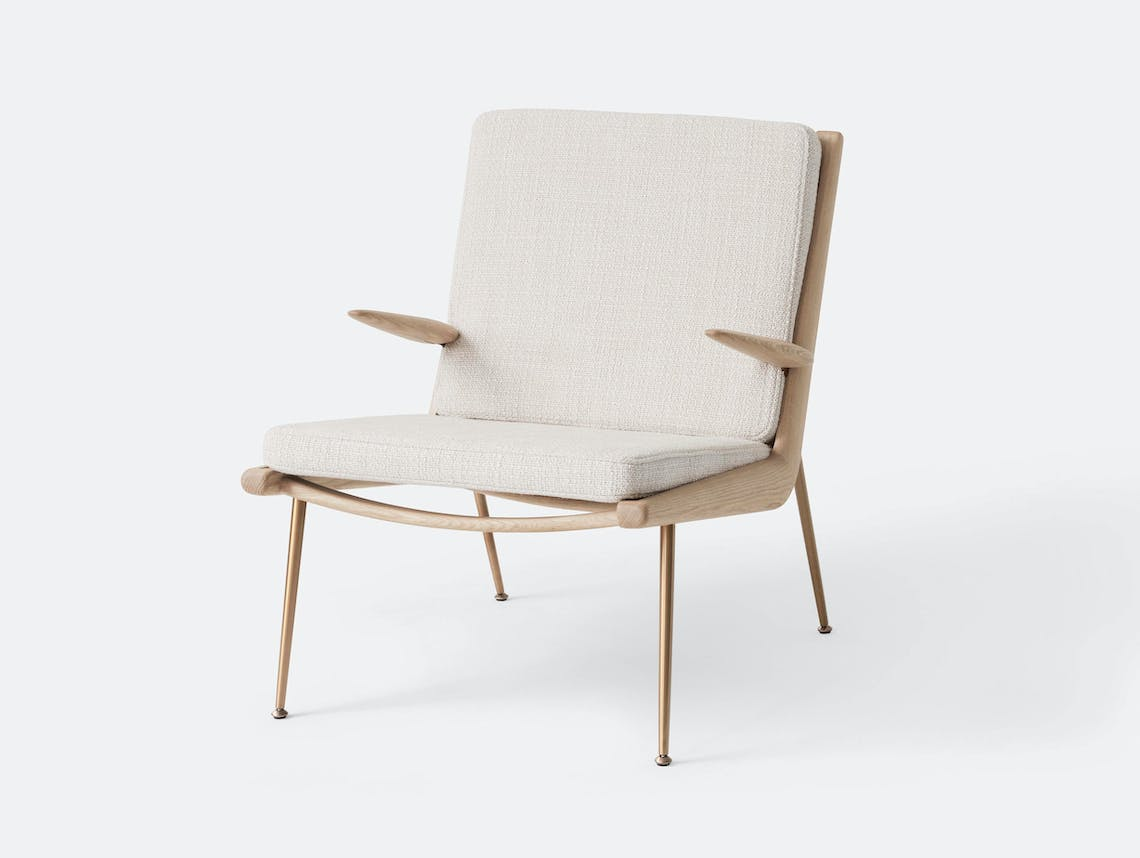 And Tradition Boomerang Lounge Chair with arms Oak Loop Cream Hvidt Molgaard